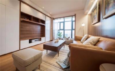 88㎡以木色和白色为主北欧现代风3室2厅设计。