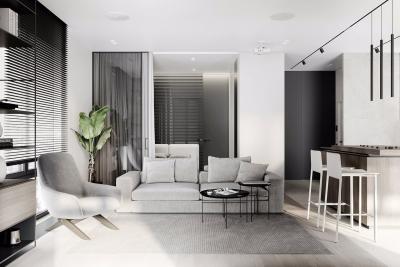 59㎡ 小户型一居室的极简之道黑白灰