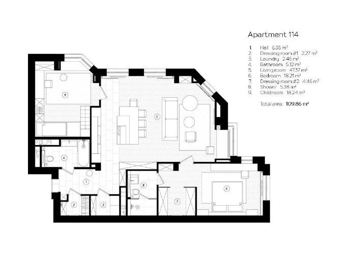 109㎡公寓,优雅时尚空间