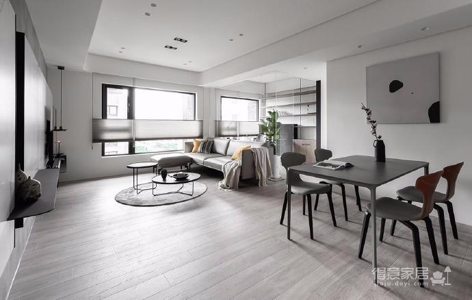 同步挥别浓郁且深沉的色系,以素雅灰调铺展于硬件与家具之间,奠定简静基底,巧妙植入水墨质感磁砖薄板,框构一幅内敛且禅意的张力端景图_3