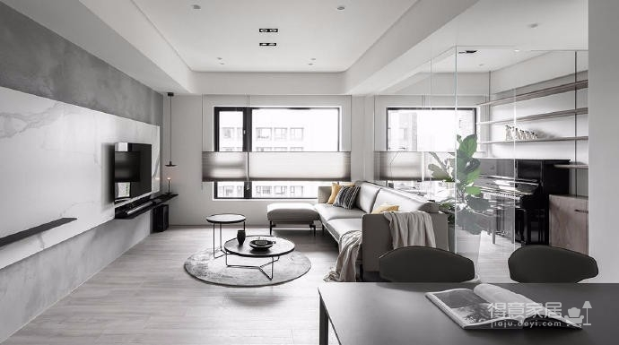 同步挥别浓郁且深沉的色系,以素雅灰调铺展于硬件与家具之间,奠定简静基底,巧妙植入水墨质感磁砖薄板,框构一幅内敛且禅意的张力端景图_4