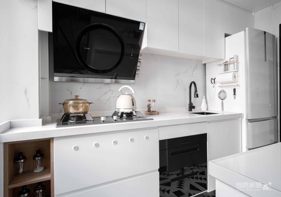 64㎡简约风小户型,电视墙收纳、厨房门改向,昏暗客厅变通透图_9