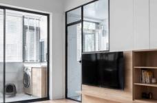 64㎡简约风小户型,电视墙收纳、厨房门改向,昏暗客厅变通透图_1