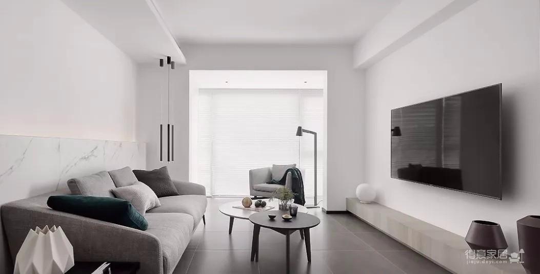 93㎡现代主义3室2厅,玻璃隔断让视觉感翻倍!图_1