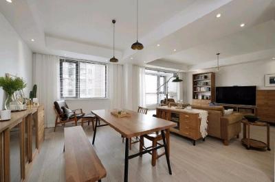简洁的北欧。白色的墙面、灰黑的家饰、搭配上木质的地板,让生冷的色系,调和出温馨的气氛