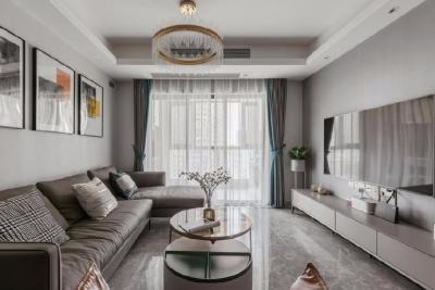 整个空间采用灰色调为主体,用亮色作为突出的色彩,大出的色彩,大理石金属元素成了轻奢高级的代表