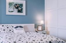 80㎡浪漫蓝色调美式风格两居室设计图_4