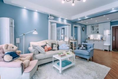 80㎡浪漫蓝色调美式风格两居室设计
