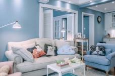 80㎡浪漫蓝色调美式风格两居室设计图_1