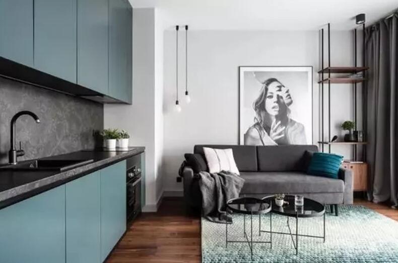 60平米的一居室,以黑白为背景色。