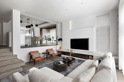 清淡白+灰色格调,整个别墅看起来大气整洁