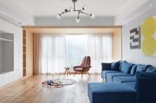 128平米四室两厅北欧风,原木色为底,辅以灰色与白色,空间通透自然图_1
