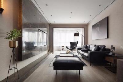 此案以黑色、咖色作为空间的主色调,在视觉上协调统一
