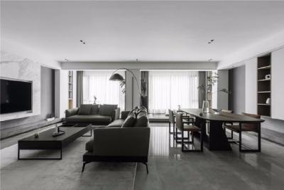 266㎡四居室精装房改造。除了卫生间、衣帽间和厨房,其他地方都是重新进行设计