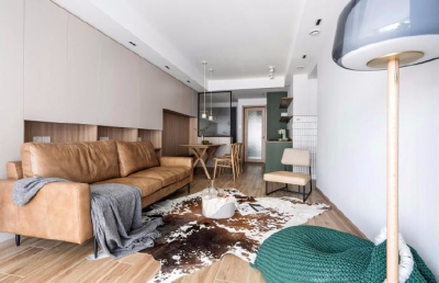 整体空间色彩选择木纹、灰色调为主,简洁大方,而不简单