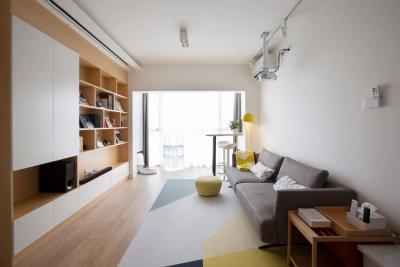 78平日式原木风格装修,玄关地砖超亮眼,阳台小吧台设计,令人羡慕!