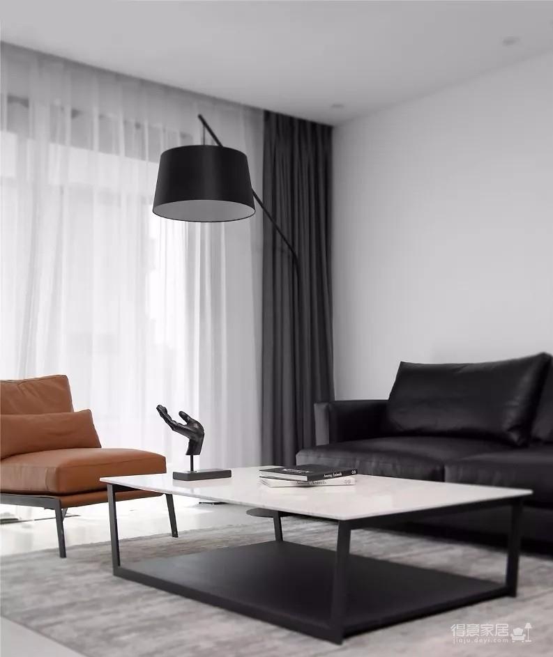 155㎡简约港式3室2厅,高级黑白灰诠释大宅风范