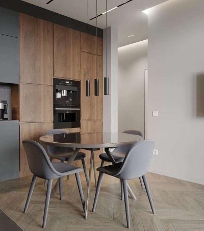 经典黑白灰+木色,将精致与简洁做到和谐统一