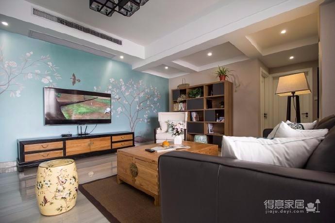 中式与小清新的风格相融合三居室设计
