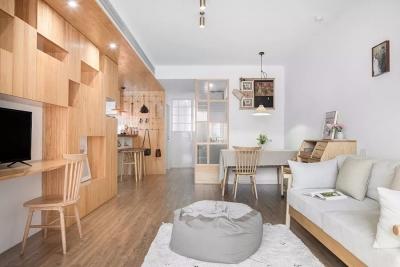 70㎡两居室!装出大厨房、大客厅,还有更胜北欧风的日式禅风!