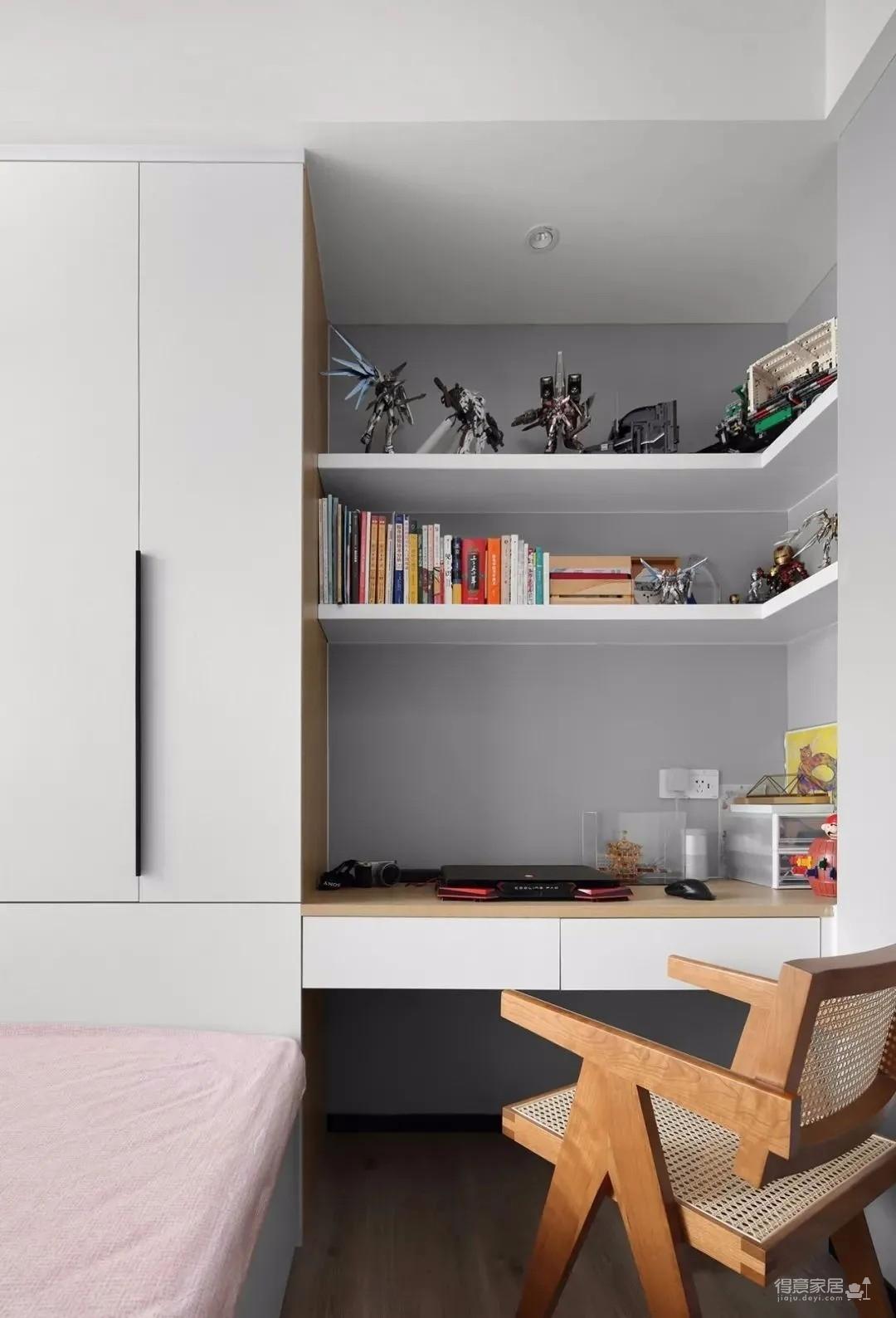 89平现代三居室,衣帽间和多功能书房全都有捏!