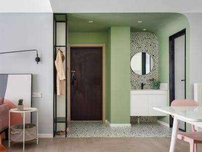 110平公寓做婚房,牛油果绿+水磨石元素,太甜了!