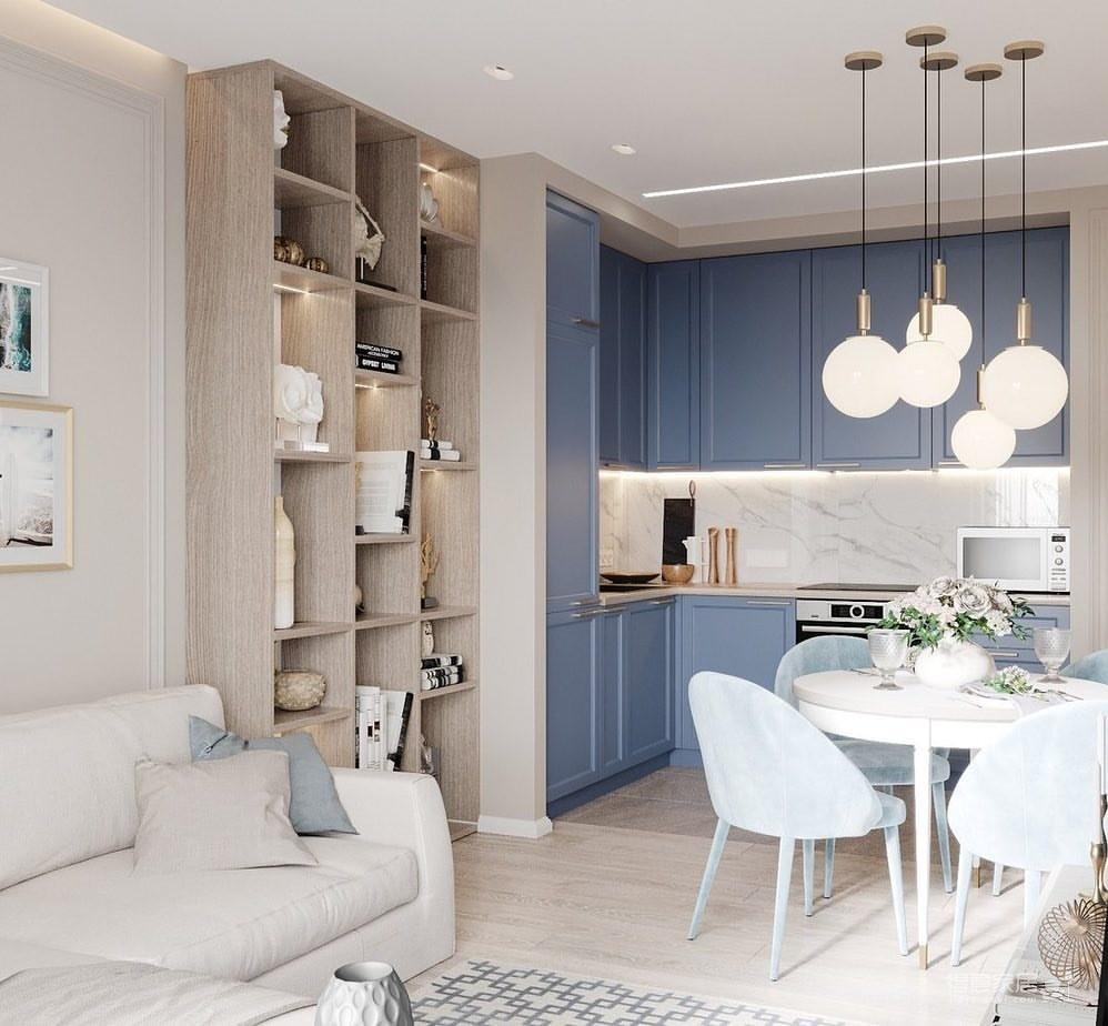 36㎡单身公寓   蓝色的唯美与浪漫图_3