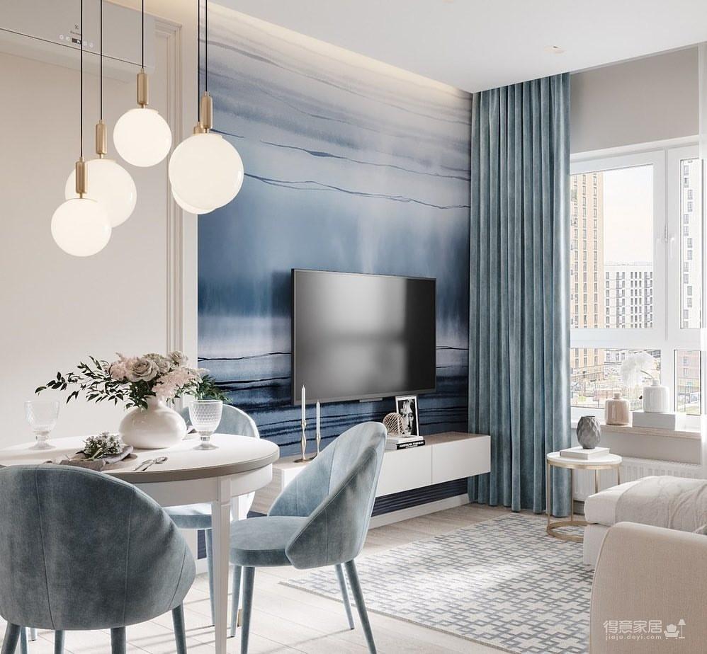 36㎡单身公寓   蓝色的唯美与浪漫图_1
