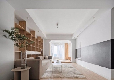 108平高级北欧家,橡木家具搭配一些绿色元素,简简单单的很清爽