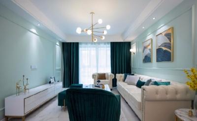 106平美式轻奢风格装修,翠绿色墙面很有生机