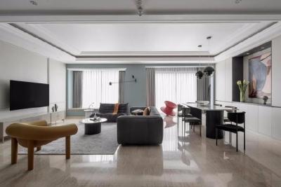 利用现代感极强的软装家具,将原本老气横秋的精装房定制为全新的拥有屋主气质特色的后现代空间