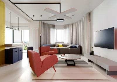 130平糖果色空间设计