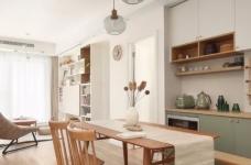 89㎡日式风三居室装修,原木收纳柜+薄荷绿配色,从玄关美到卧室!图_6