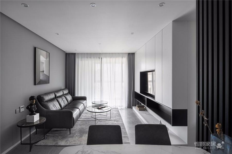 95平现代,简单的黑白搭建构造无限的丰富层次图_1
