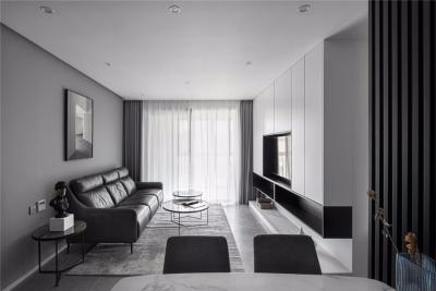 95平现代,简单的黑白搭建构造无限的丰富层次