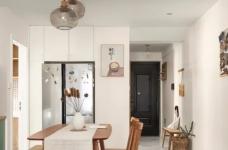 89㎡日式风三居室装修,原木收纳柜+薄荷绿配色,从玄关美到卧室!图_4