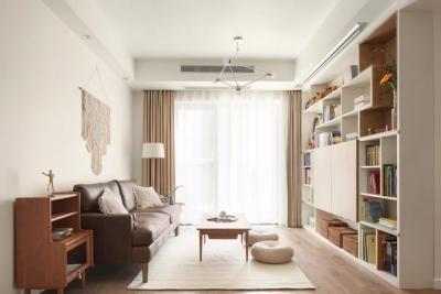 89㎡日式风三居室装修,原木收纳柜+薄荷绿配色,从玄关美到卧室!