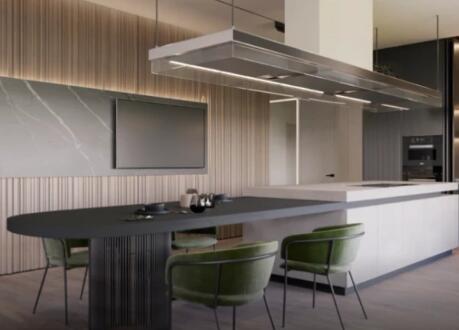 ●3室2厅2卫的公寓,全开放的厨房设计超大气!
