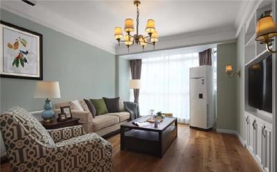 在设计上墙面选择淡淡的灰绿色来营造整体氛围,在硬装上则借鉴现代手法尽量简化,白色家具穿插其中调整气氛,局部美式线条勾勒