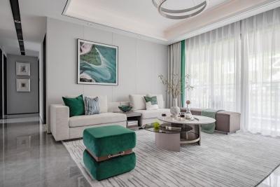 135平孔雀绿+白,现代轻者气质美宅