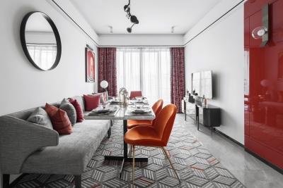 爱马仕橙打造现代轻奢空间