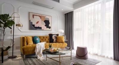 88㎡复古轻奢风,亮黄色、粉红色、蓝色的加入,让空间变得温暖明亮起来