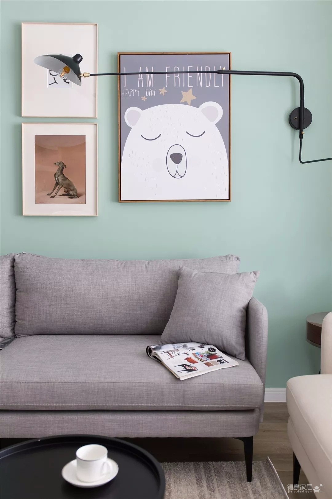 100㎡浅色系北欧风装修,干净清爽,绿色背景墙非常温馨!