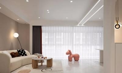 142m²简约柔美三居,双动线玄关、开放式书房和酒店式主卧套房,太赞了!