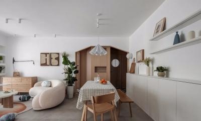 80m²实用简约北欧风两居,一进门就被木屋造型的玄关美到了!