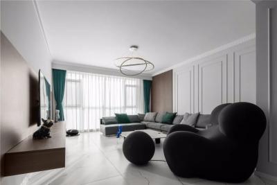 百搭又高级,这个140㎡的两居室,比黑白灰更耐看!