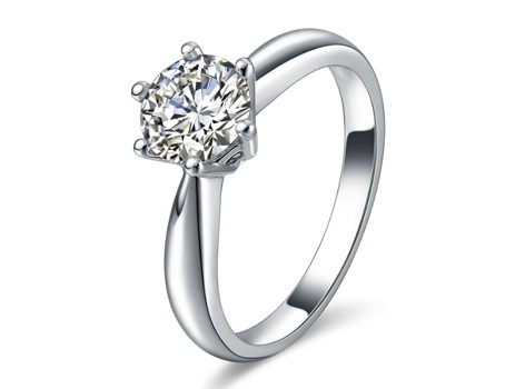 【珂兰钻石】18K白金1克拉钻石女戒 世纪星耀