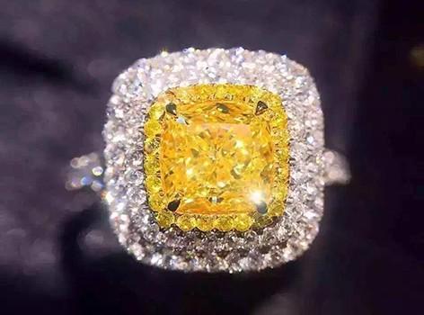 【久福源珠宝】1.00ct 垫型黄钻豪华戒指