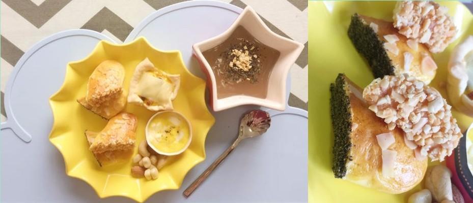 面包棒+酥皮烤蛋奶+花生藕粉